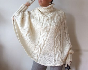 Hand knitted poncho  braided cape sweater,fall fashion cabled poncho, avant garde traffic stoper, hottest fall trend, ivory cream sweater
