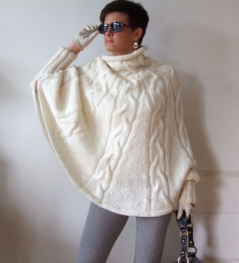 Knitting Pattern Cape Arm Slits : Hand knitted poncho braided cape sweaterfall fashion cabled