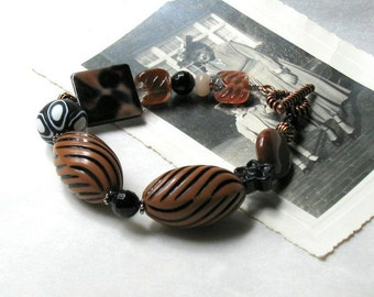 Black and Brown Boho Beaded Bracelet with Copper, Chunky Boho Bracelet, For Her Under 90