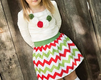 Girls Chevron skirt in Christmas colors