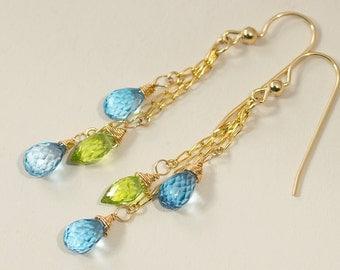 Solid 14k Gold Gemstone Dangle Earrings Topaz Peridot