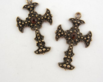 Pair of Small Antique Gold-tone Textured Cross Charms with Topaz Rhinestone