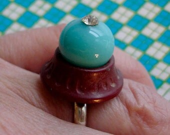 robin's egg blue vintage bead,  button, and faux diamond ring