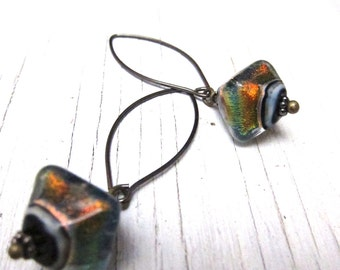 Amber Iridescent Glass Earring, Rustic Murano Glass Earrings