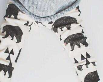 baby leggings, organic baby leggings, baby leggings in geometric bears,  baby pants, toddler leggings, toddler pants, organic baby clothes