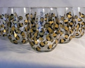 painted leopard print stemless  wine glasses - set of 4