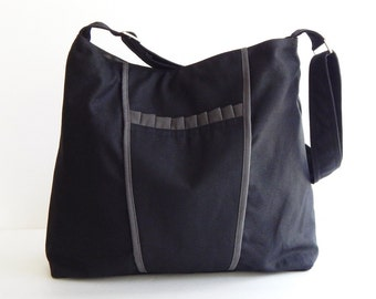 Sale - Black Canvas Bag, purse, tote, messenger bag, hobo, bow, cute, stylish  - Gail