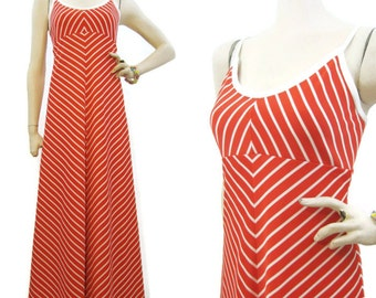 70s Dress Vintage Halter Empire Waist Maxi Orange Chevron Stripe S