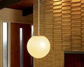50s lighting  / Vintage 1950s Mid Century Ball Pendant Lighting Hanging Lamp