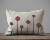 Craspedia Flower Pillow in Natural Linen with Plum Purple Billy Balls by JillianReneDecor | Billy Button | Botanical Home Decor | Gift