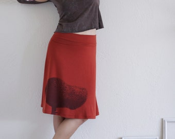 50% OFF .  Black Friday Cyber Monday Sale . Burnt Orange Knee Length A line Skirt . Jersey Autumn/Fall skirts -Tree Huger