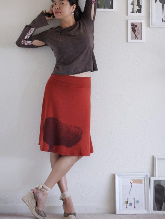 50% OFF .  Black Friday Cyber Monday Sale . Burnt Orange Knee Length A line Skirt . Jersey Autumn/Fall skirts -Tree Huger