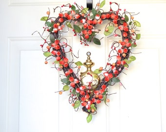 Valentine Red heart  wreath - silk  red roses - front door decor - gift for Mom - Valentines Day