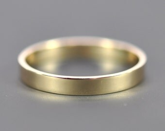 14K Yellow Gold 3x1mm Flat Edge Ring, Solid Gold Wedding Band, Recycled Metals, Eco-Friendly, Sea Babe Jewelry