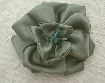 3 inch Glass Beaded CELEDON GREEN Matte Satin Rose Flower Bridal Hat Corsage