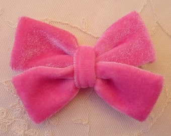 3.5 inch HOT PINK VELVET Ribbon Bow Applique Bridal Baby Hair Accessory Pin