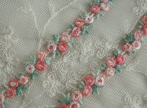 Peach embroidered rose bud flower ribbon by delightfuldesigner