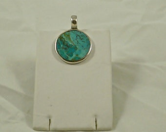 Vintage Round Turquoise and Sterling Pendant