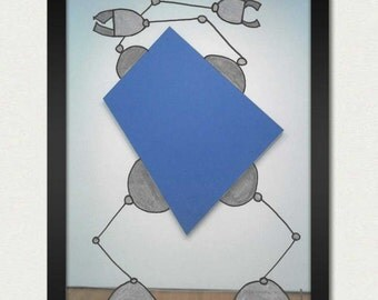 Mike Slobot   Robot Art   Blue Panel Bot