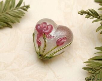 Fuchsia Flower Heart Focal Bead - Handmade Glass Lampwork Bead 11832005