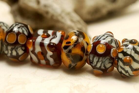 Seven Animal Print Rondelle Beads - Handmade Glass Lampwork Bead Set 10302601