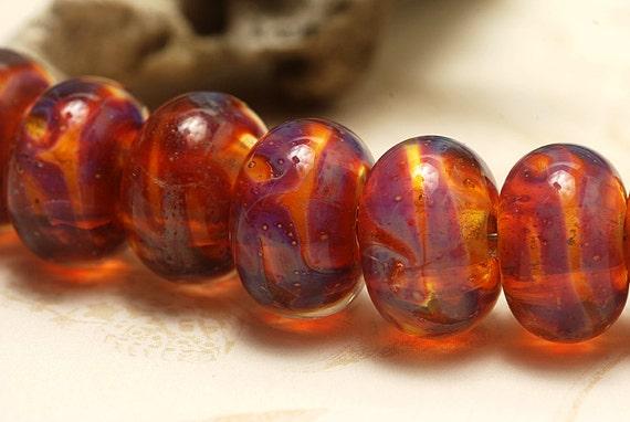 Seven Orange & Purple Free Style Rondelle Beads - Handmade Glass Lampwork Bead Set 10602601