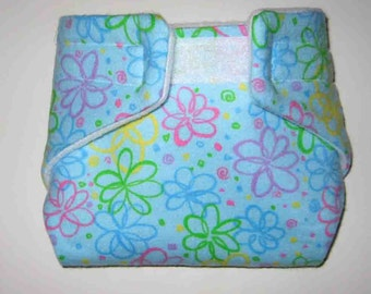 Baby Doll Cloth Diaper/Wipe-Colored Swirls- Cloth Diaper-Fits Bitty Baby, Baby Alive, Cabbage Patch, American Girl Dolls and More