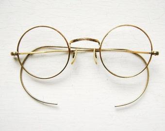 Gold Filled Eyeglass Frames : 1980s French Round Snake/Tortoise Vintage by ...