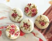 "Fabric Buttons, Retro Light Yellow Cream Red Floral Flower Fabric Covered Buttons, Floral Wedding Fridge Magnets, Flat Backs, 1.1"" 5's"