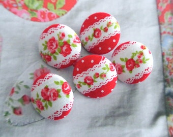 Handmade Shabby Red White Lace Flower Floral Fabric Covered Button, Flat Back Button, 0.8 Inches 5's
