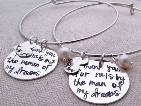 Mother Of The Groom Gift: Thank You For Raising The Man Of My Dreams Bracelet Mother