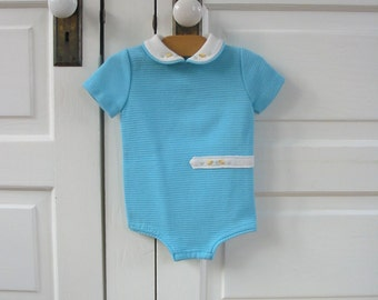 Vintage Baby Onsie Aqua Blue Boy Chicks Bodysuit Peter Pan Collar