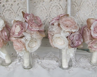 Bridasmaids Bouquet Package Vintage Bouquet Rustic,Bohoemiam Dusty Rose/Ivory Fabric flower bouquets fabric bouquets wedding flowers