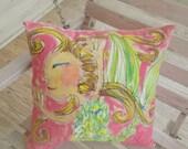 Mermaid Handpainted Pillow Ready to Ship