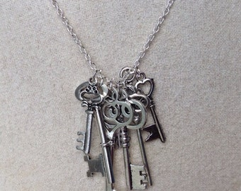 Key Necklace, Steampunk Key Necklace, skeleton key necklace, Steampunk  Jewelry,