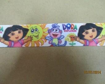 Dora on a White Background  7/8 Inch Grosgrain Ribbon