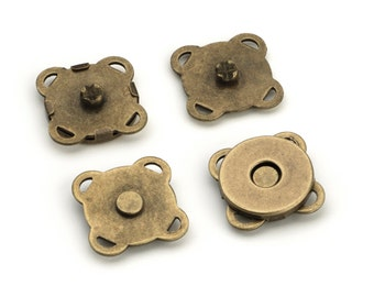 "10 Sets Sewn-on Magnetic Purse Snaps - Closures 10mm (3/8"") - Antique Brass - Free Shipping (MAGNET SNAP MAG-194)"