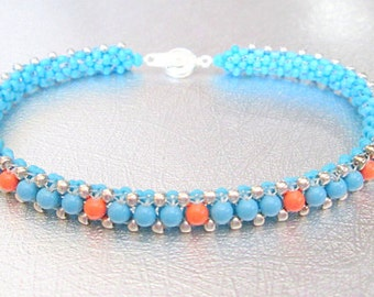 turquoise beaded bracelet swarovski pearl beadwork bracelet southwestern bead bracelet