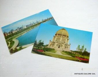 2 Vintage Postcards, Chicago's Michigan Avenue Skyline, Baha' Temple, Wilmette Harbor, Lake Michigan Shoreline  (421-14)