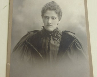 Antique Cabinet Card Lady with Beaded Collar CC423