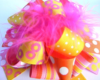 OTT Bows - Yellow and Hot Pink Hair Over the Top bow Boutique Style