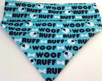 """Aqua Blue """"Woof"""" Dog Bandana"""