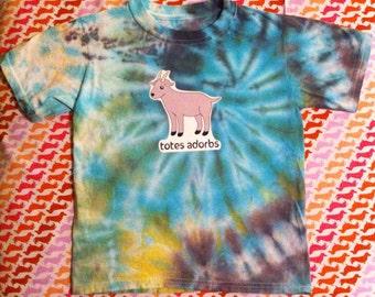 TOTES ADORBS Goat tie dye 6-8 kids T Shirt blue meme