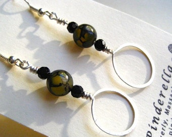 Hand hammered Wire and Beaded Dangle earrings in silver, olive green, and black