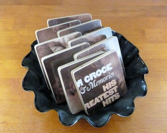 JIim Croce upcycled Photographs & Memories music album wood coasters and record bowl