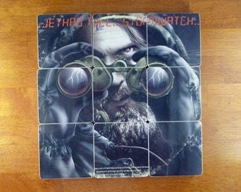Jethro Tull recycled Stormwatch album cover wood coasters and warped record bowl