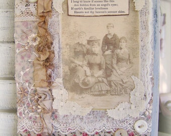 Handmade Fabric Collage Vintage Fabric Collage Textile Collage Wall hanging Vintage Lace Vintage Sisters