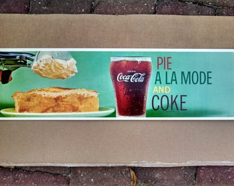 Vintage Original Soda Fountain Sign - 1960's Pie A La Mode and Coke  Cardboard channel sign.