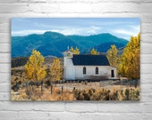 Country Church Art, Fall Leaves, Western Landscape Art, Autumn Leaves, Black and White, Church Art, Architecture Art, Countrysides