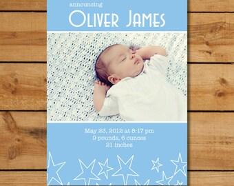 Baby Boy Photo Birth Announcement - Sky Blue Stars